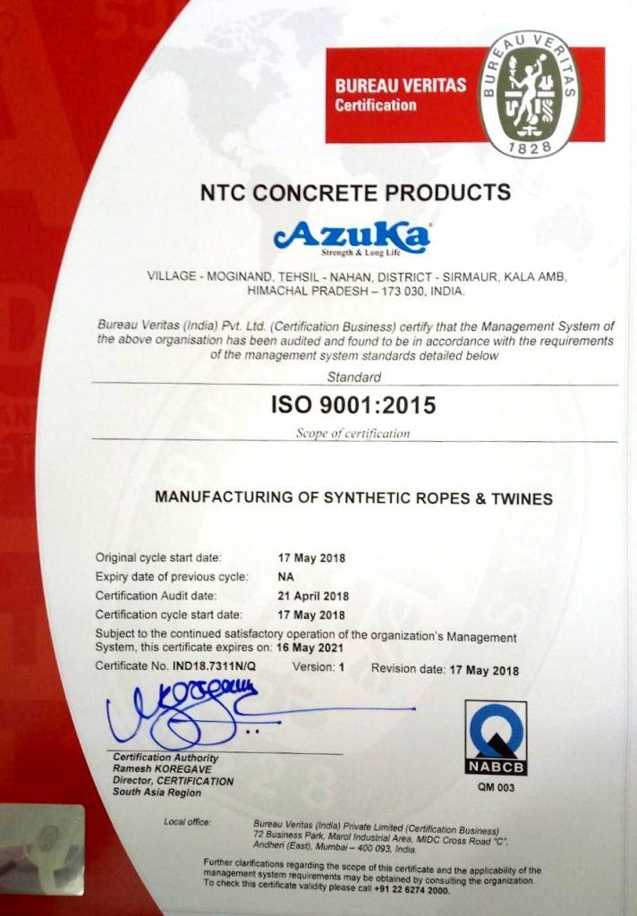 Azuka ISO Certificate
